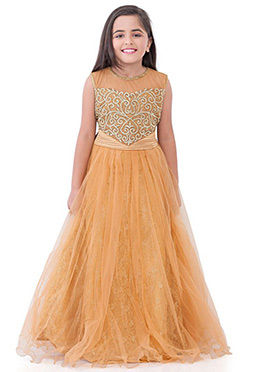 Light Peach Embroidered Anarkali Gown