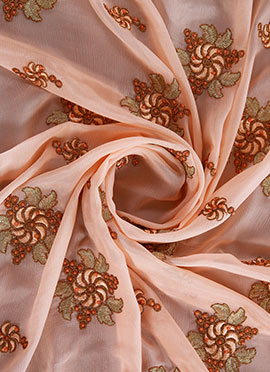 Light Peach Embroidered Chinnon Chiffon Fabric