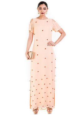 Light Peach Georgette Dress