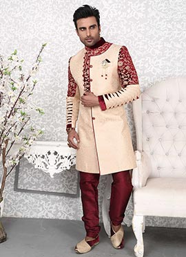 Light Beige Indowestern Sherwani