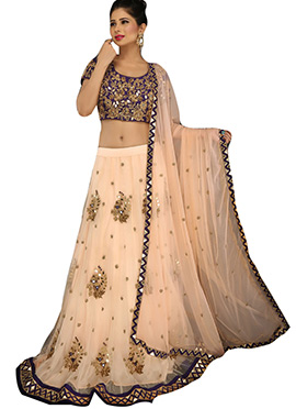 Light Peach Net A Line Lehenga Choli