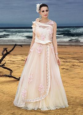 Light Peach Net Anarkali Gown