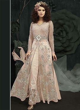 Light Peach Net Anarkali Suit