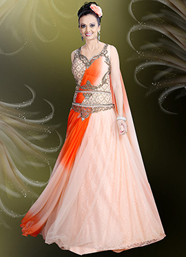Light Peach Net Draped Gown