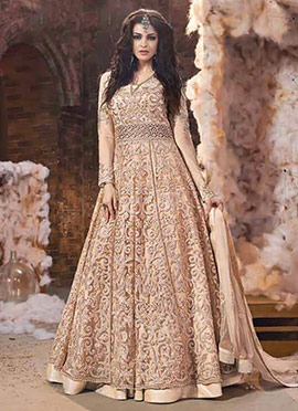 Light Peach Net Layered Anarkali Suit