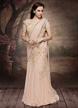 Light Peach Net N Lycra Lehenga Saree