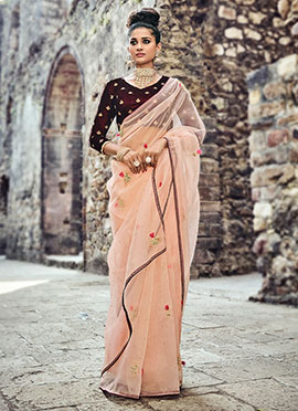 Light Peach Net Saree