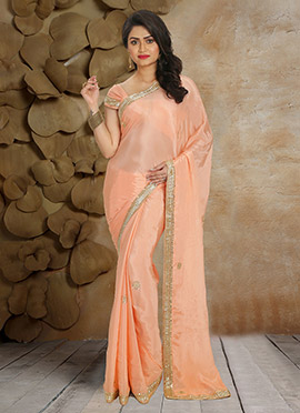 Light Peach Pure Crepe Saree