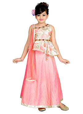 Light Pink Art Dupion Silk Net Kids Lehenga