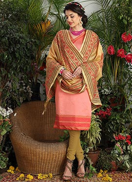 Light Pink Art Silk Churidar Suit