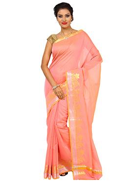 Light Pink Art Silk Cotton Border Saree