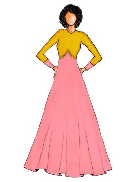 Light Pink Art Silk Gown with Yellow Jacket.