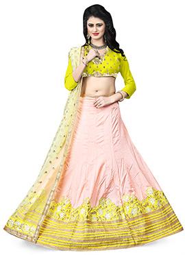 Light Pink Art Silk Lehenga Choli
