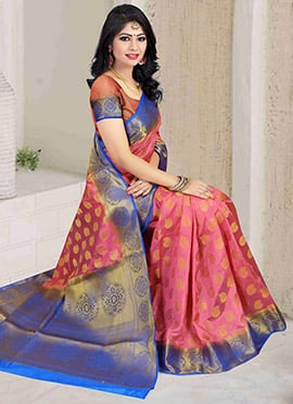 Light Pink Art Silk Saree