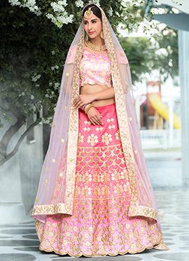 Light Pink Art Silk Umbrella Lehenga