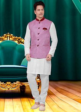 Light Pink Cotton Nehru Jacket