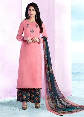 Light Pink Cotton Palazzo Suit