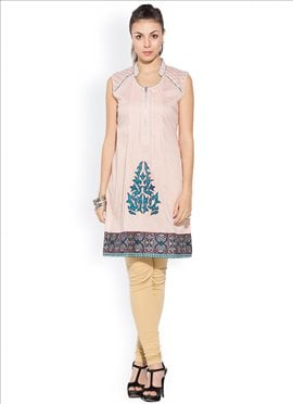 Light Pink Cotton Plus Size Kurti