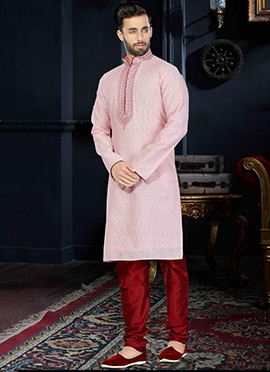 Light Pink Cotton Silk Kurta Pyjama