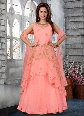 Light Pink Embroidered Abaya Style Anarkali Suit