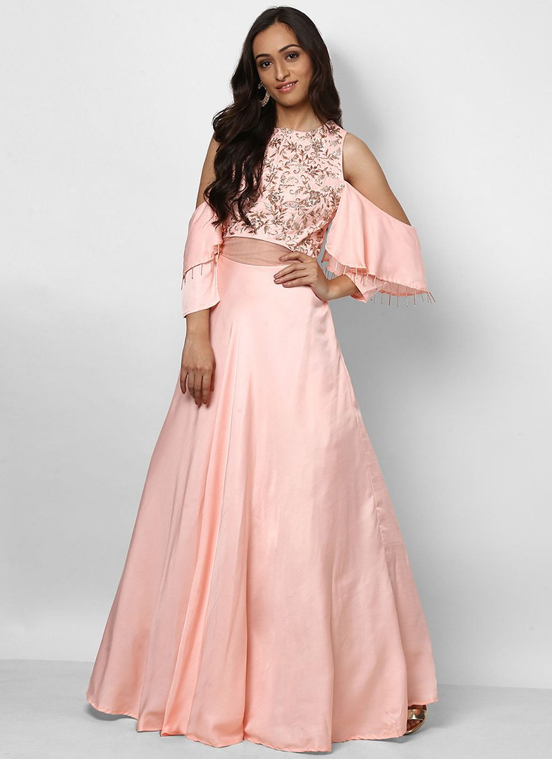 Buy Light Pink Embroidered Anarkali Gown, Embroidered, dresses and ...