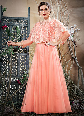 Light Pink Embroidered Cape Style Anarkali Gown