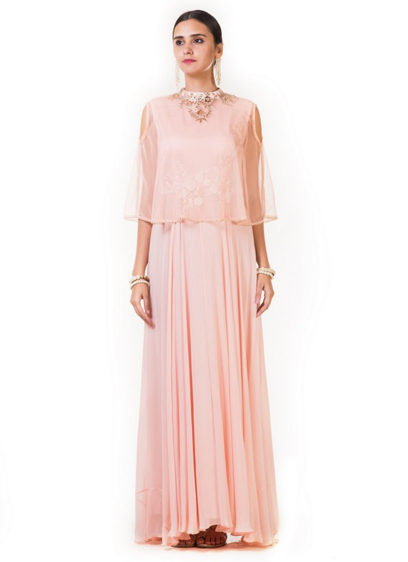 Buy Light Pink Embroidered Cape Style Gown, Embroidered, dresses and ...