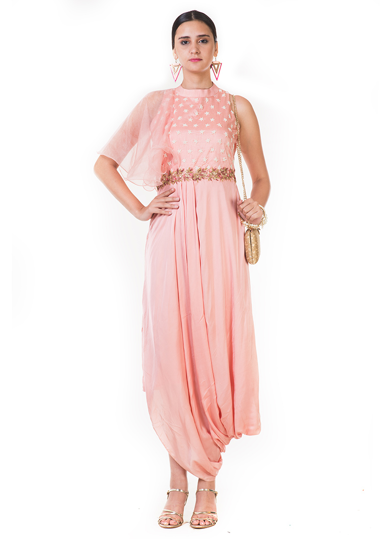 Buy Light Pink Embroidered Draped Dress, Embroidered, dresses and ...