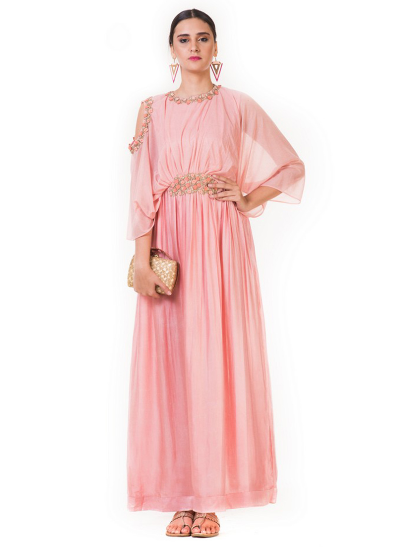 Buy Light Pink Embroidered Gown, Embroidered, dresses and gown ...