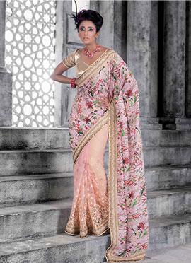 Light Pink Embroidered Half N Half Saree