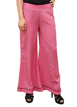 Light Pink Embroidered Palazzo Pant