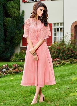 Light Pink Georgette Cape Dress