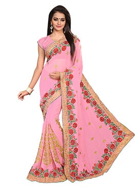 Light Pink Georgette Embroidered Saree