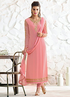 Light Pink Georgette Embroidered Straight Suit