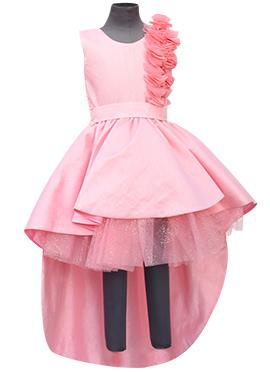 Fayon Light Pink Georgette Kids Tail Dress