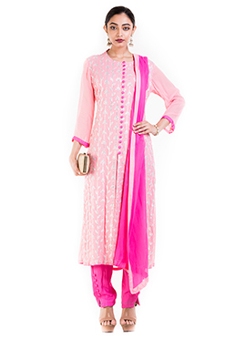 Light Pink Georgette Straight Pant Suit
