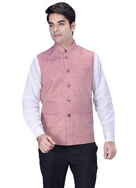 Light Pink Jute Silk Nehru Jacket