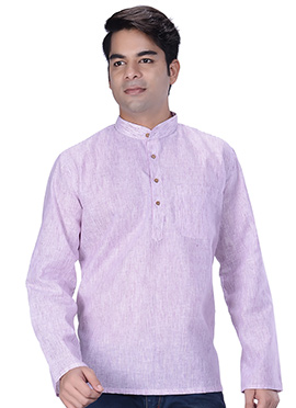 Light Pink Linen Cotton Short Kurta