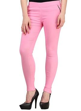 Light Pink Lycra Cotton Straight Pant