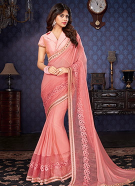 Light Pink Lycra Net Saree