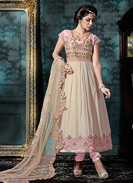 Light Pink N Beige Anarkali Suit