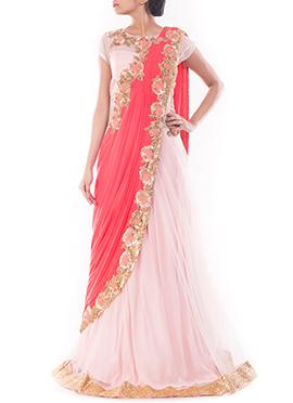 Light Pink N Coral Pink Lycra N Net Saree Gown