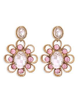 Light Pink N Gold Crystals Drop Earrings
