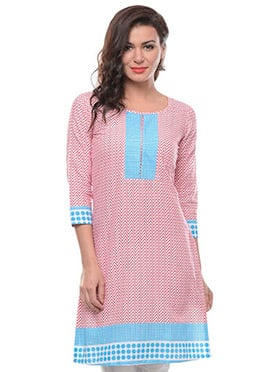 Light Pink N Sky Blue Printed Kurti