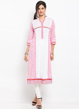 Light Pink N White Cotton Anarkali Kurti