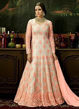 Light Pink N White Net Abaya Style Anarkali Suit