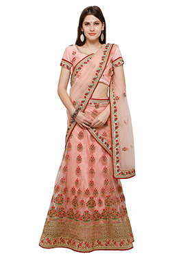 Light Pink Net A Line Lehenga