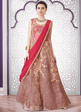 Light Pink Net Anarkali Gown