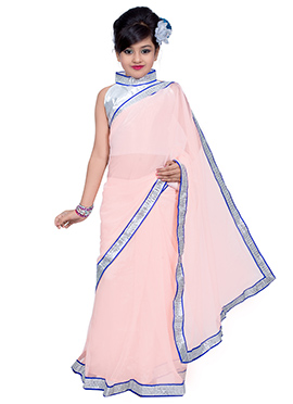Light Pink Net Kids Saree