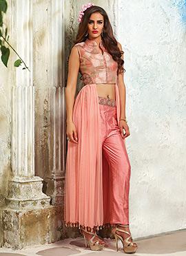 Light Pink Net N Brocade Silk Straight Pant Suit